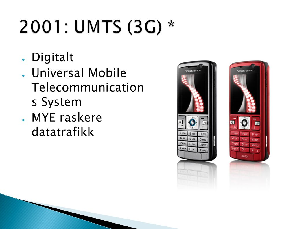 2001: UMTS (3G) * Digitalt Universal Mobile Telecommunication s System