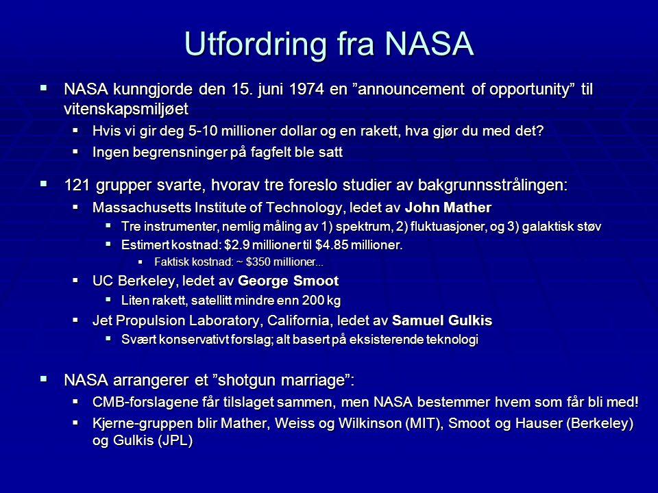Utfordring fra NASA NASA kunngjorde den 15. juni 1974 en announcement of opportunity til vitenskapsmiljøet.