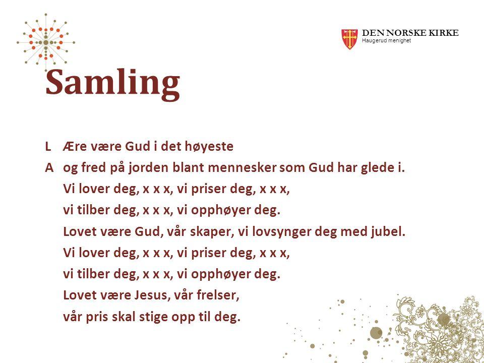 DEN NORSKE KIRKE Haugerud menighet. Samling.
