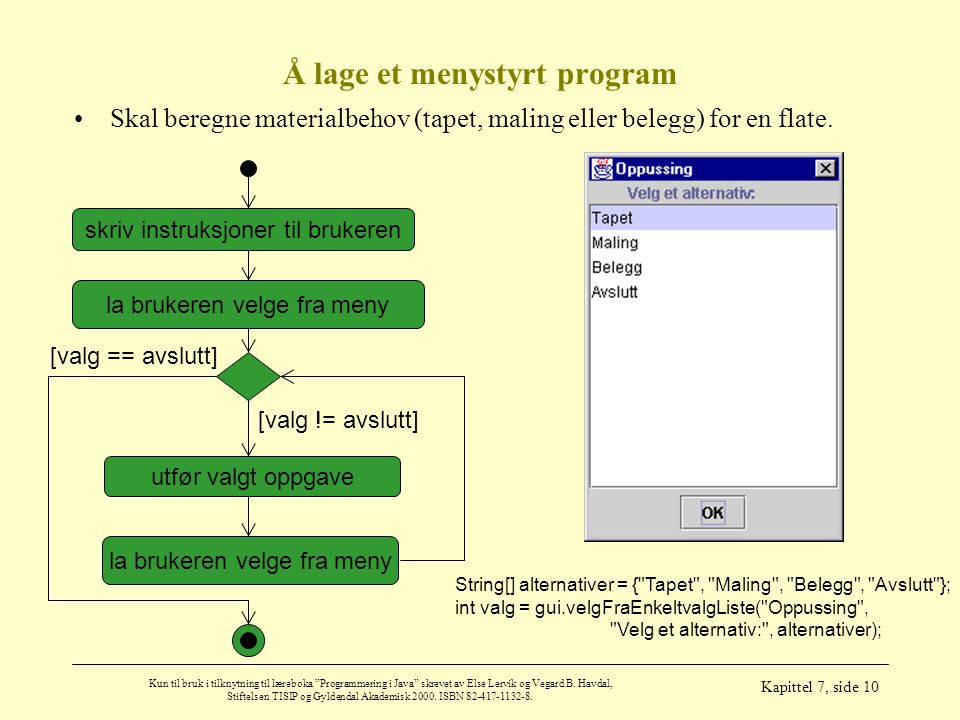 Å lage et menystyrt program