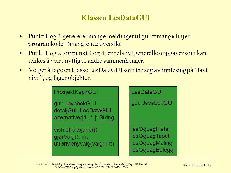 Klassen LesDataGUI Punkt 1 og 3 genererer mange meldinger til gui Þ mange linjer programkode Þ manglende oversikt.