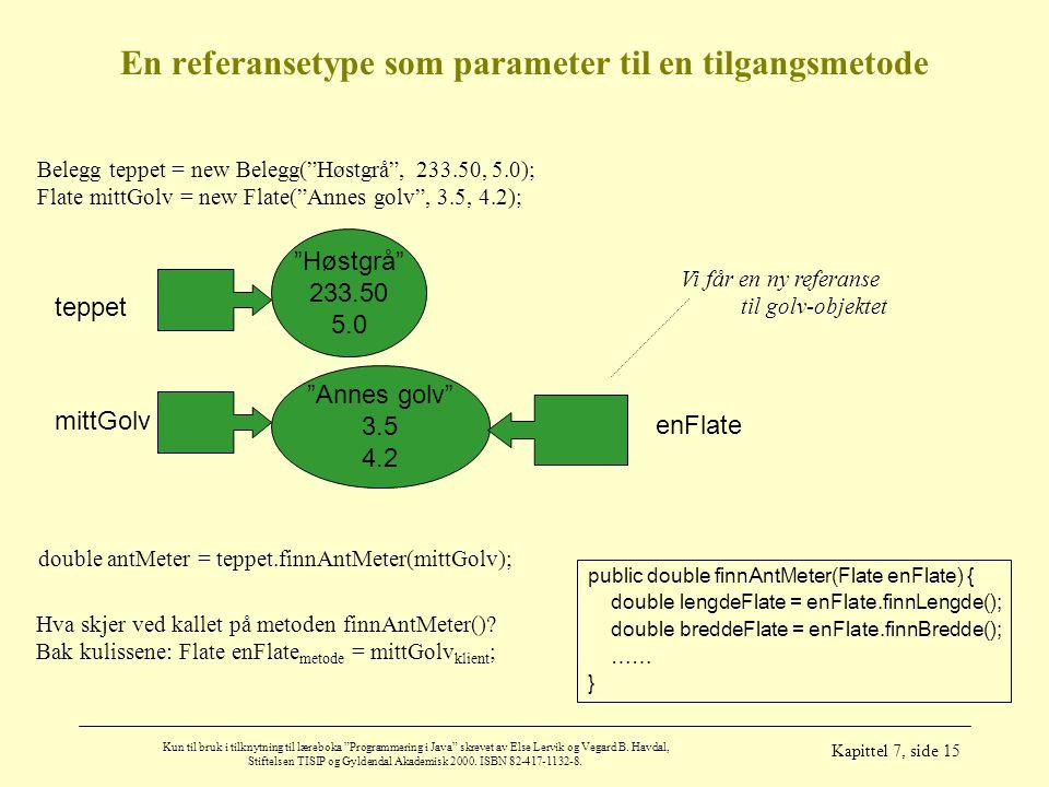 En referansetype som parameter til en tilgangsmetode