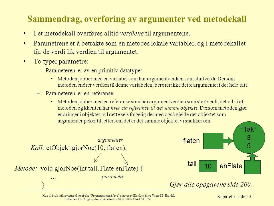 Sammendrag, overføring av argumenter ved metodekall