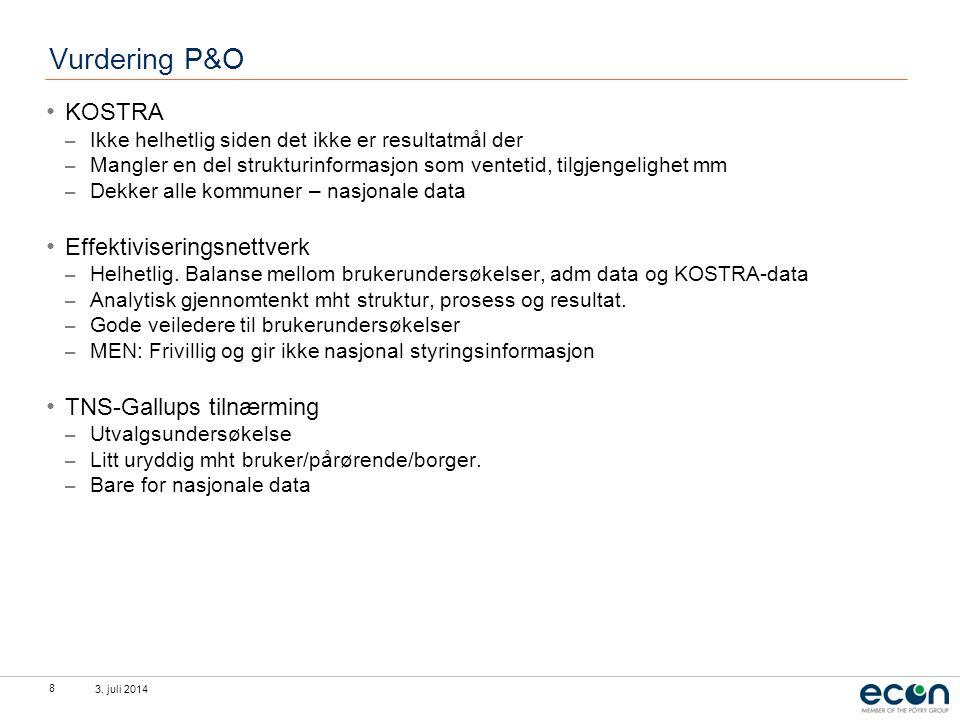 Vurdering P&O KOSTRA Effektiviseringsnettverk TNS-Gallups tilnærming