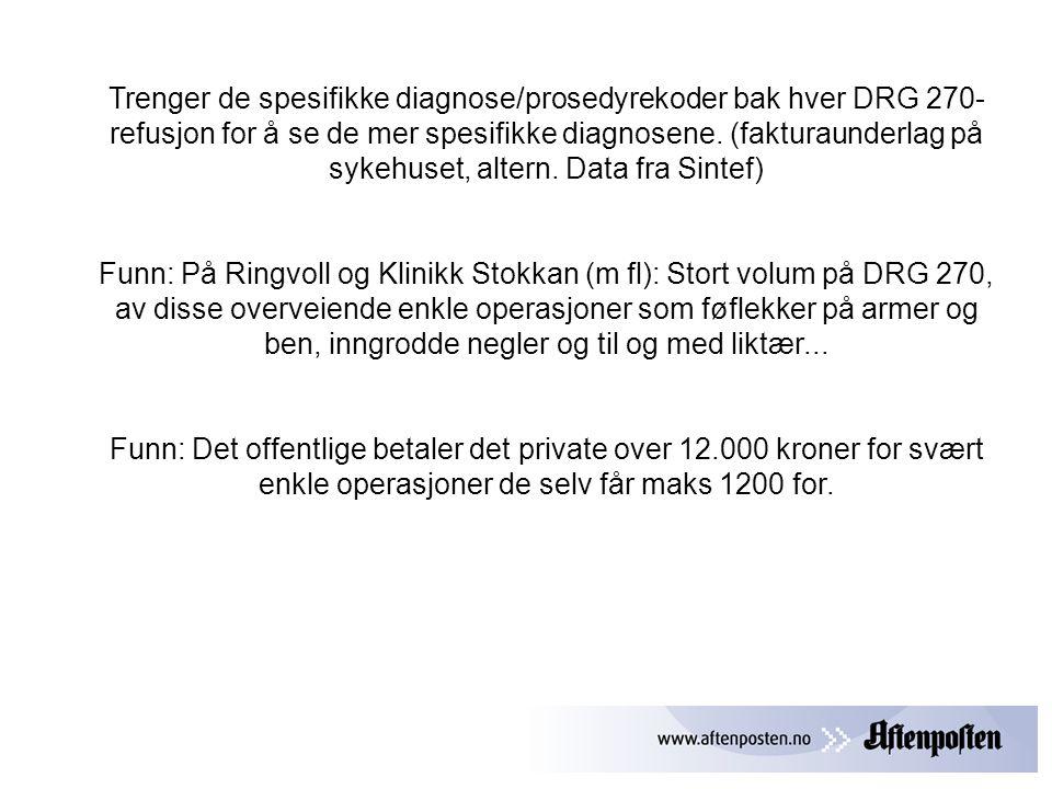 Trenger de spesifikke diagnose/prosedyrekoder bak hver DRG 270-refusjon for å se de mer spesifikke diagnosene. (fakturaunderlag på sykehuset, altern. Data fra Sintef)