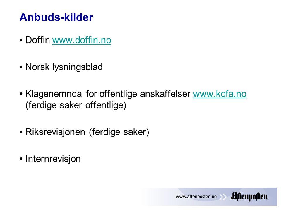 Anbuds-kilder Doffin www.doffin.no Norsk lysningsblad