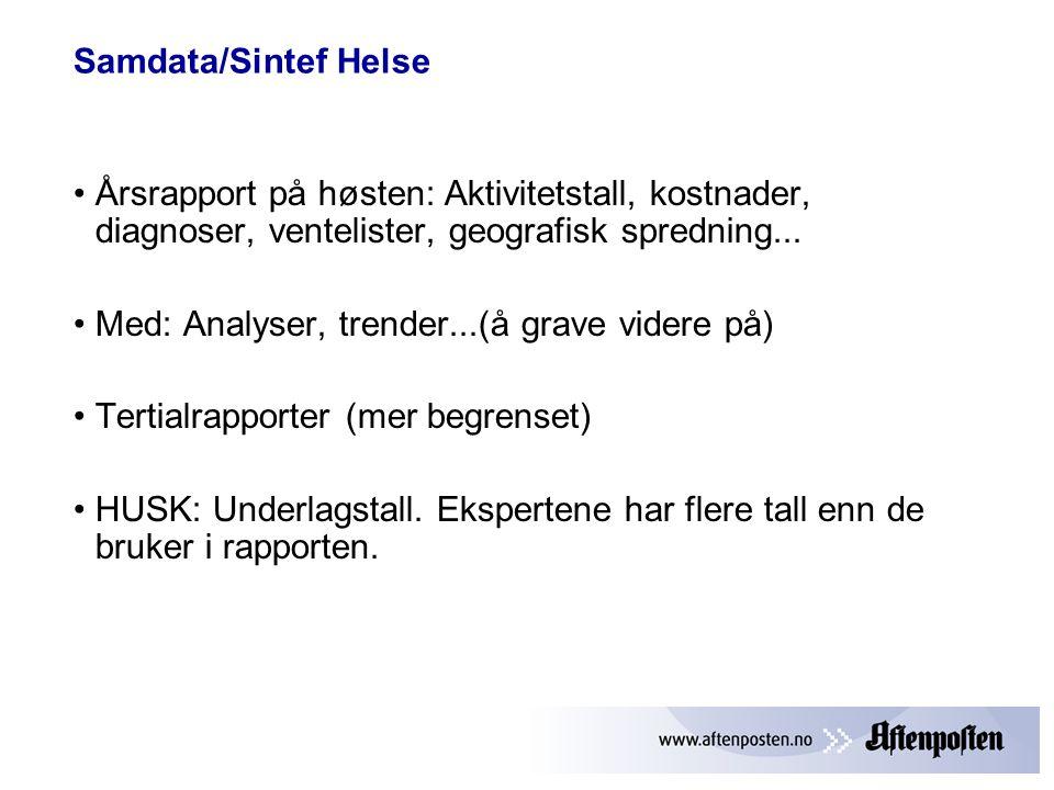 Samdata/Sintef Helse Årsrapport på høsten: Aktivitetstall, kostnader, diagnoser, ventelister, geografisk spredning...