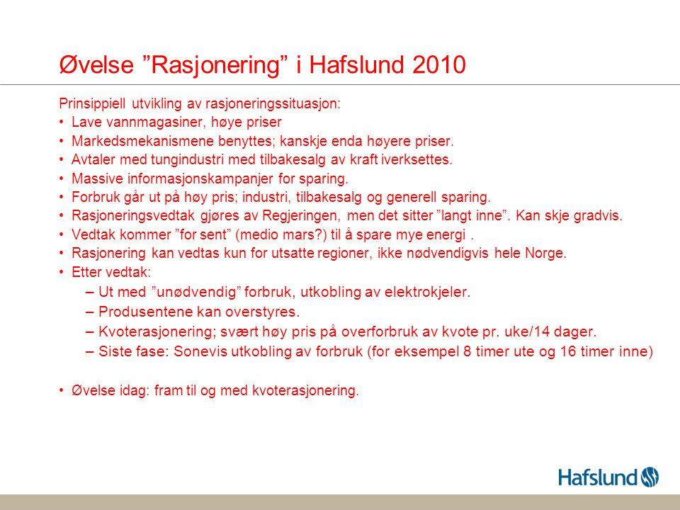 Øvelse Rasjonering i Hafslund 2010