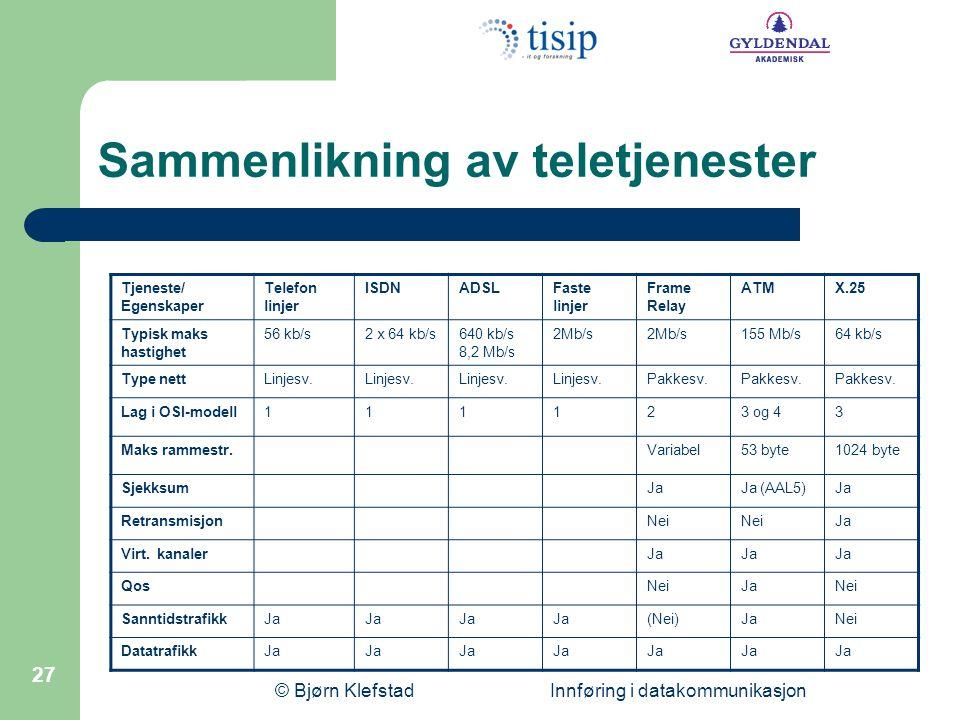 Sammenlikning av teletjenester