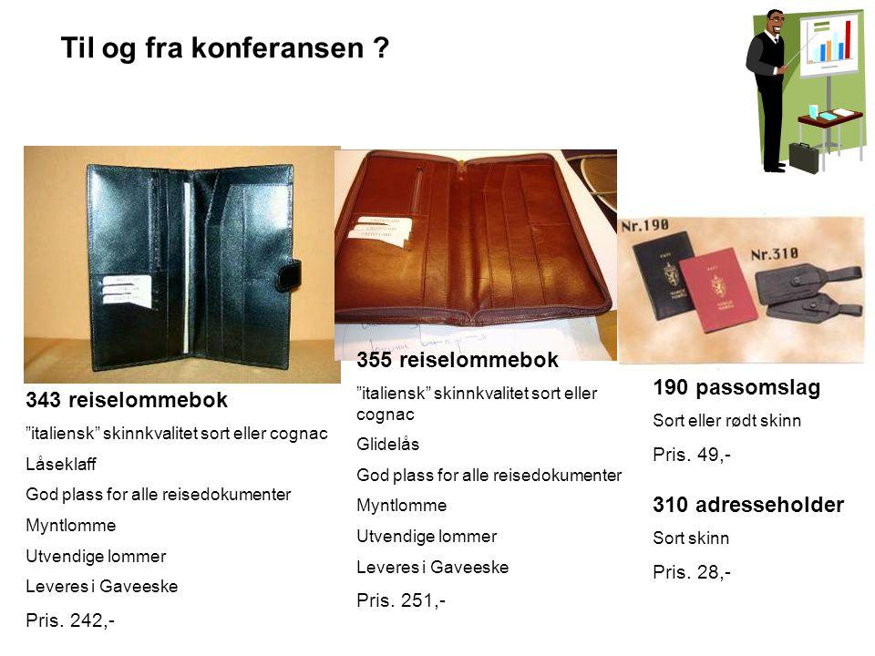 Til og fra konferansen 355 reiselommebok 190 passomslag