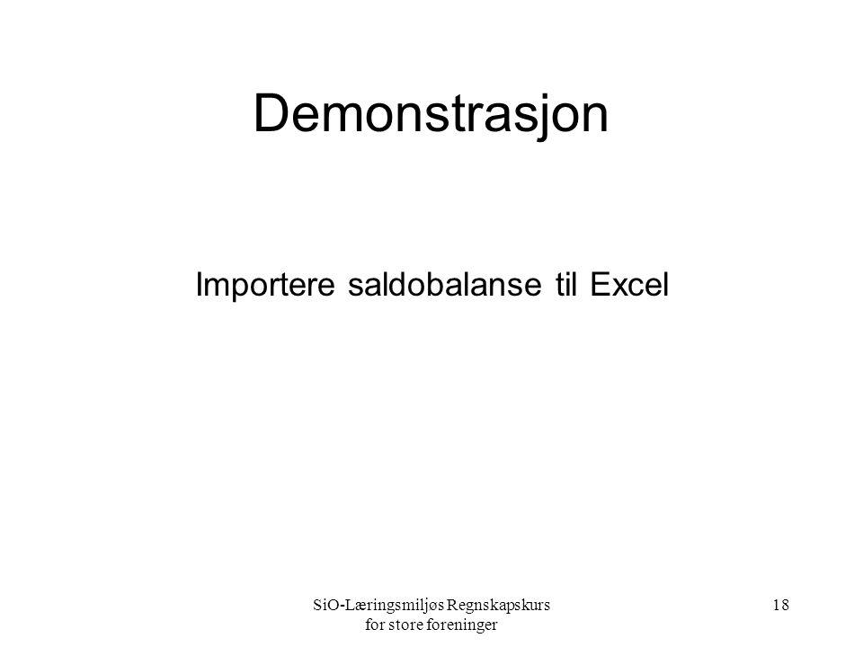 Demonstrasjon Importere saldobalanse til Excel