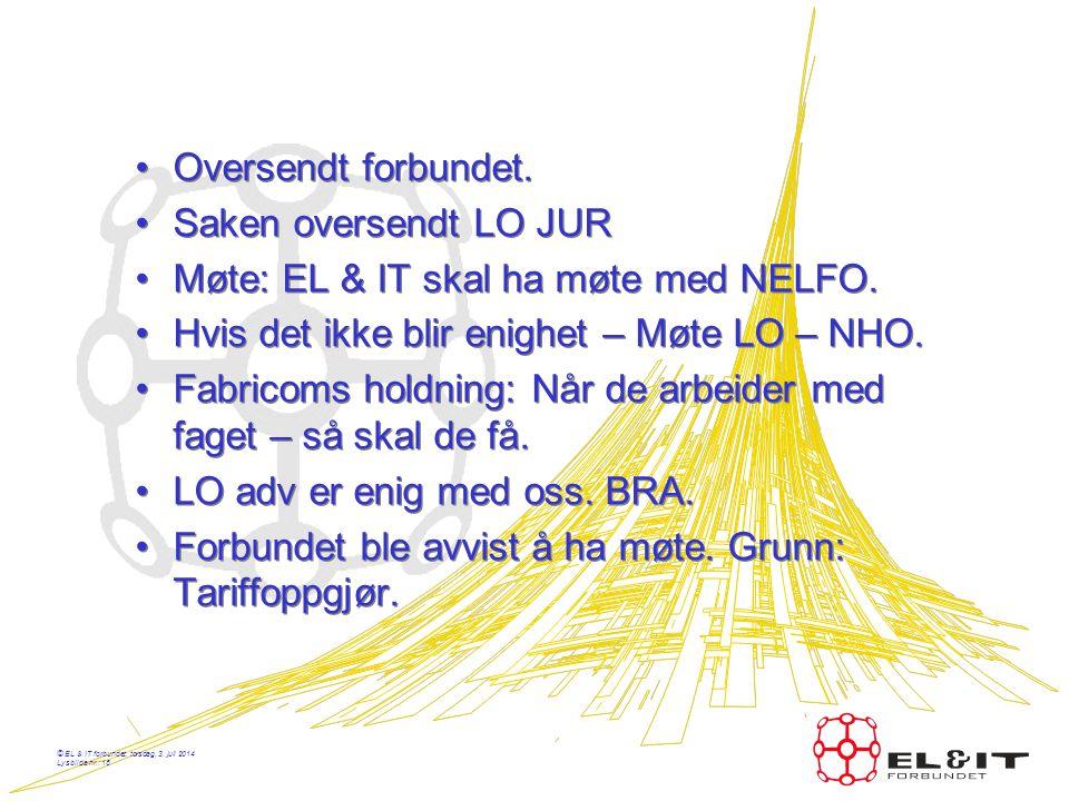 Møte: EL & IT skal ha møte med NELFO.