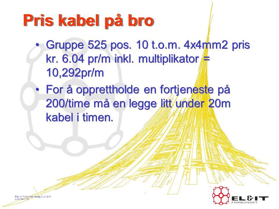 Pris kabel på bro Gruppe 525 pos. 10 t.o.m. 4x4mm2 pris kr. 6.04 pr/m inkl. multiplikator = 10,292pr/m.