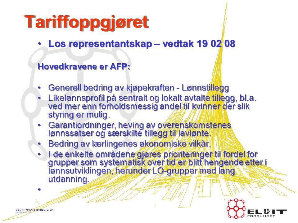 Tariffoppgjøret Los representantskap – vedtak 19 02 08