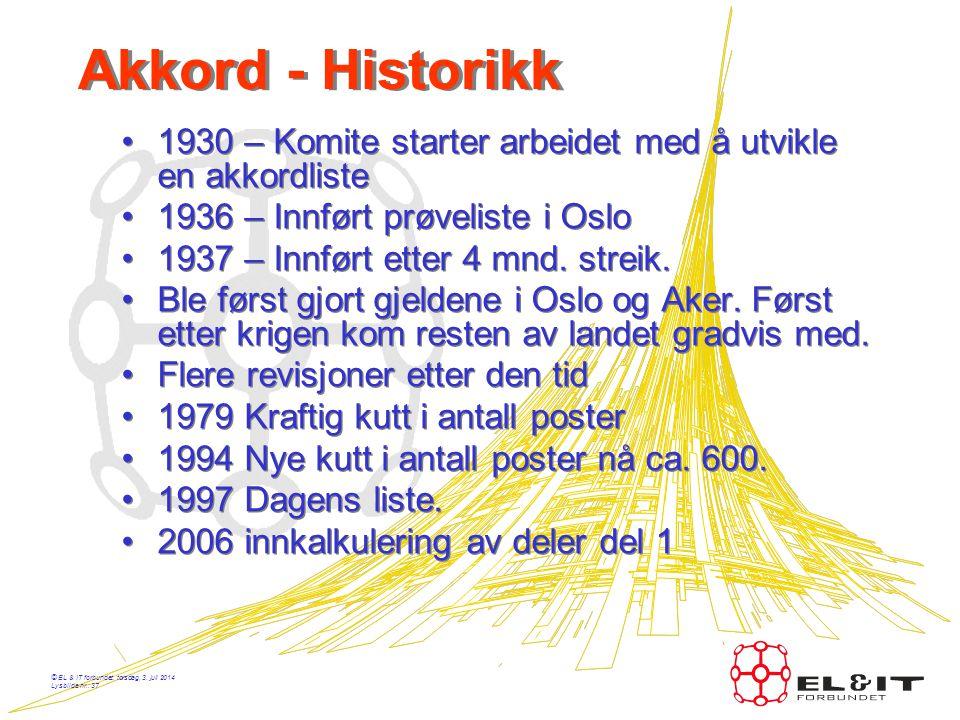 Akkord - Historikk 1930 – Komite starter arbeidet med å utvikle en akkordliste. 1936 – Innført prøveliste i Oslo.