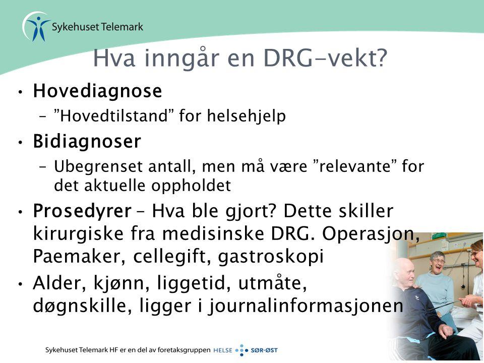 Hva inngår en DRG-vekt Hovediagnose Bidiagnoser