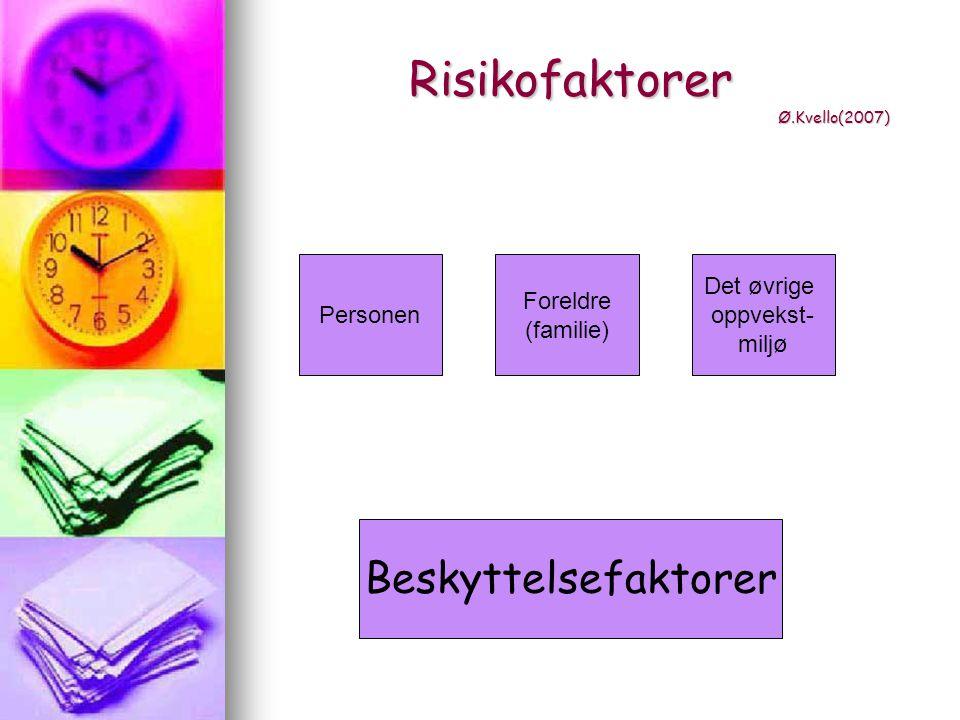 Risikofaktorer Ø.Kvello(2007)