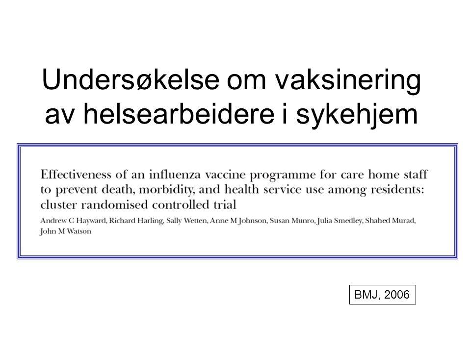 Undersøkelse om vaksinering av helsearbeidere i sykehjem
