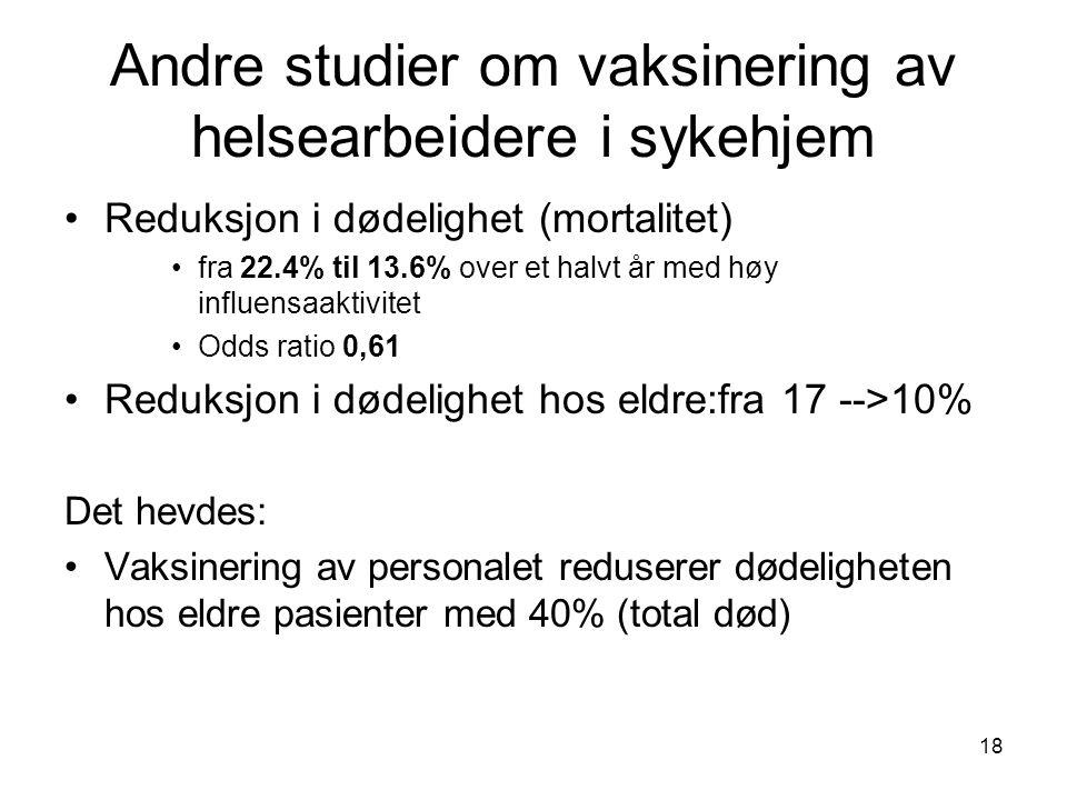 Andre studier om vaksinering av helsearbeidere i sykehjem