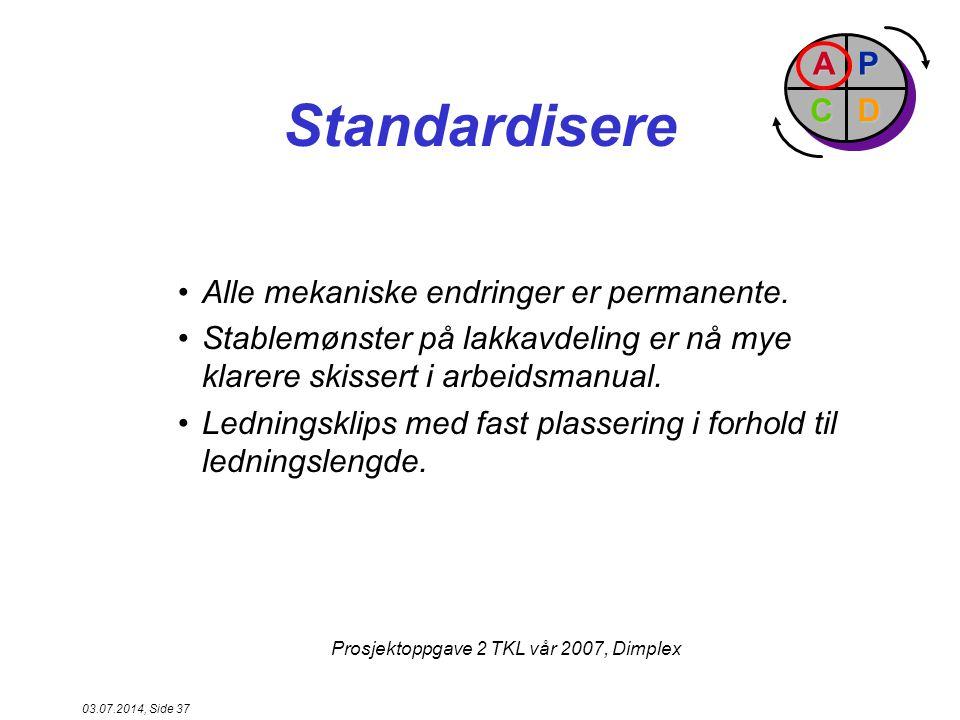 Standardisere P D A C Alle mekaniske endringer er permanente.