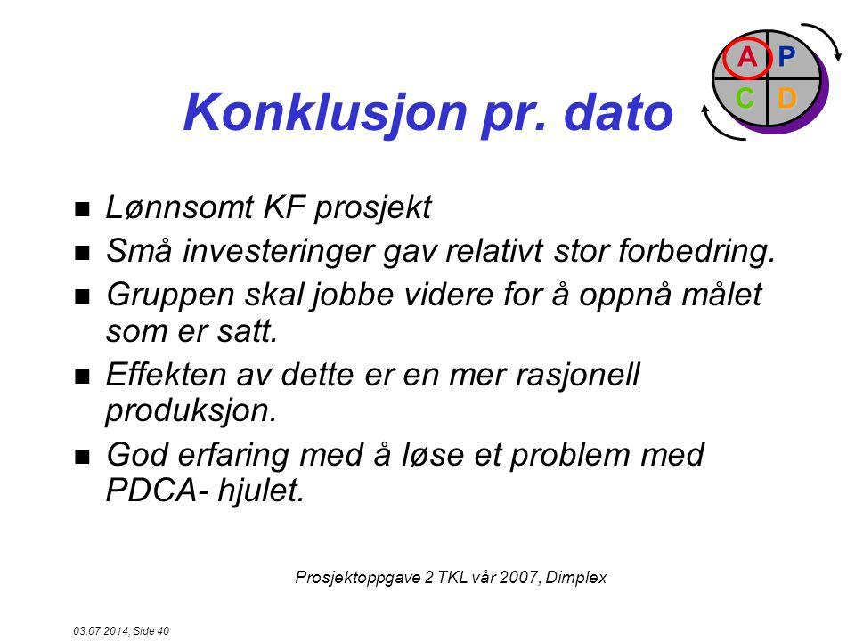 Konklusjon pr. dato Lønnsomt KF prosjekt