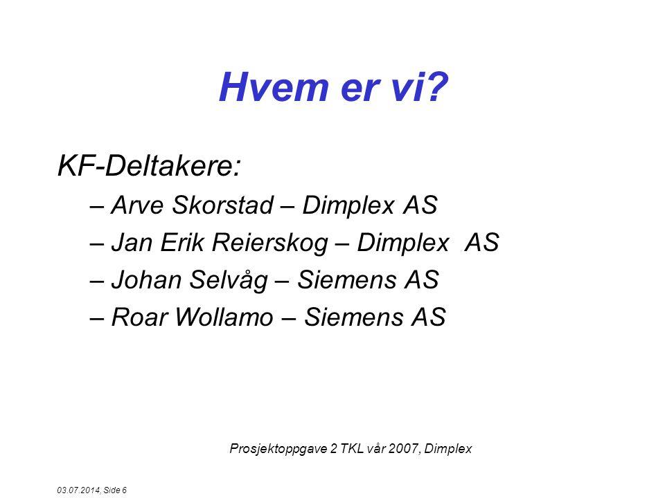 Hvem er vi KF-Deltakere: Arve Skorstad – Dimplex AS