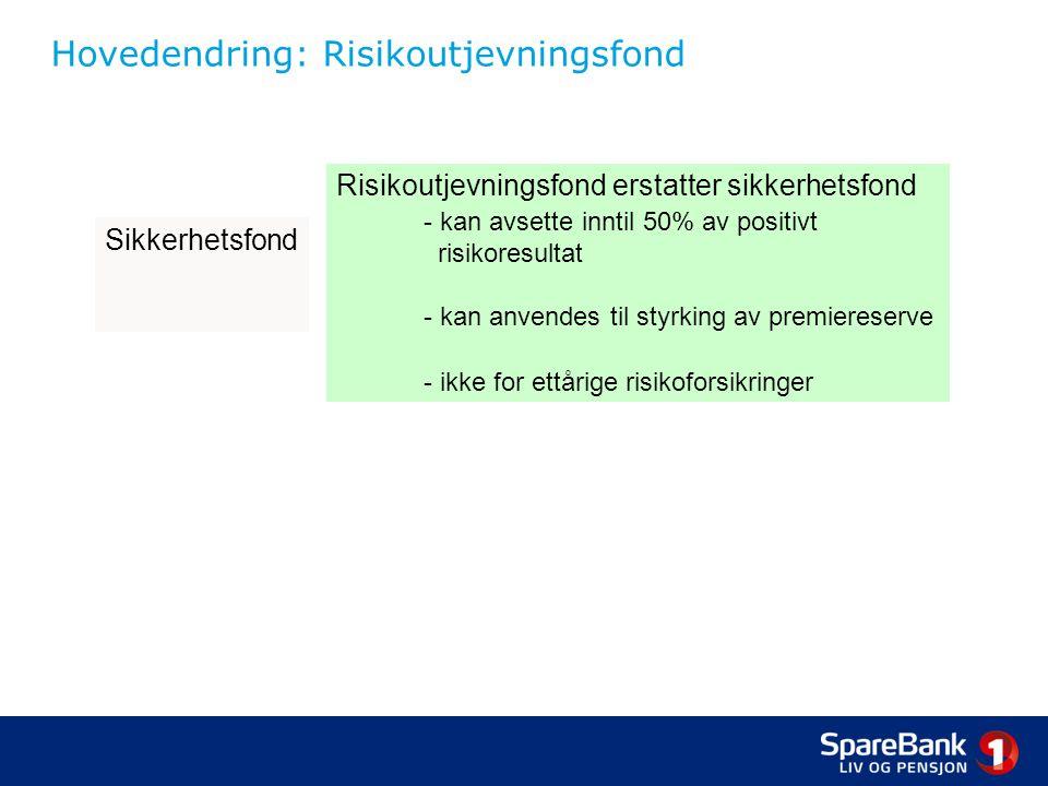 Hovedendring: Risikoutjevningsfond