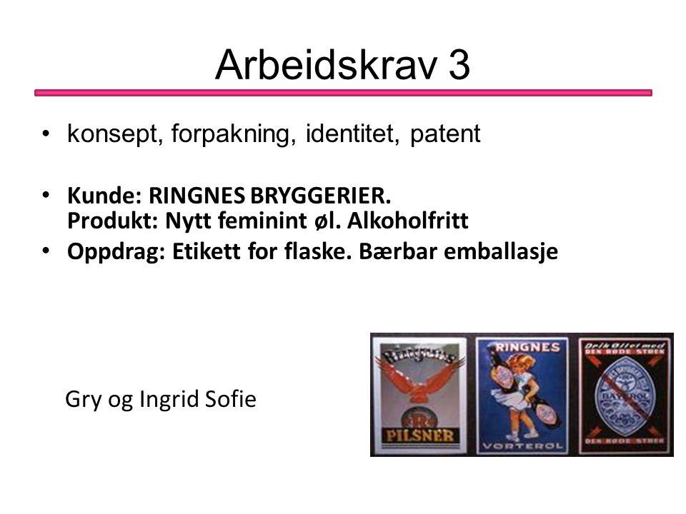 Arbeidskrav 3 konsept, forpakning, identitet, patent