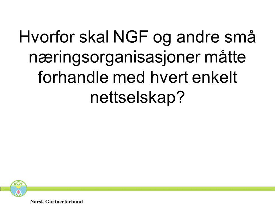 Hvorfor skal NGF og andre små næringsorganisasjoner måtte forhandle med hvert enkelt nettselskap