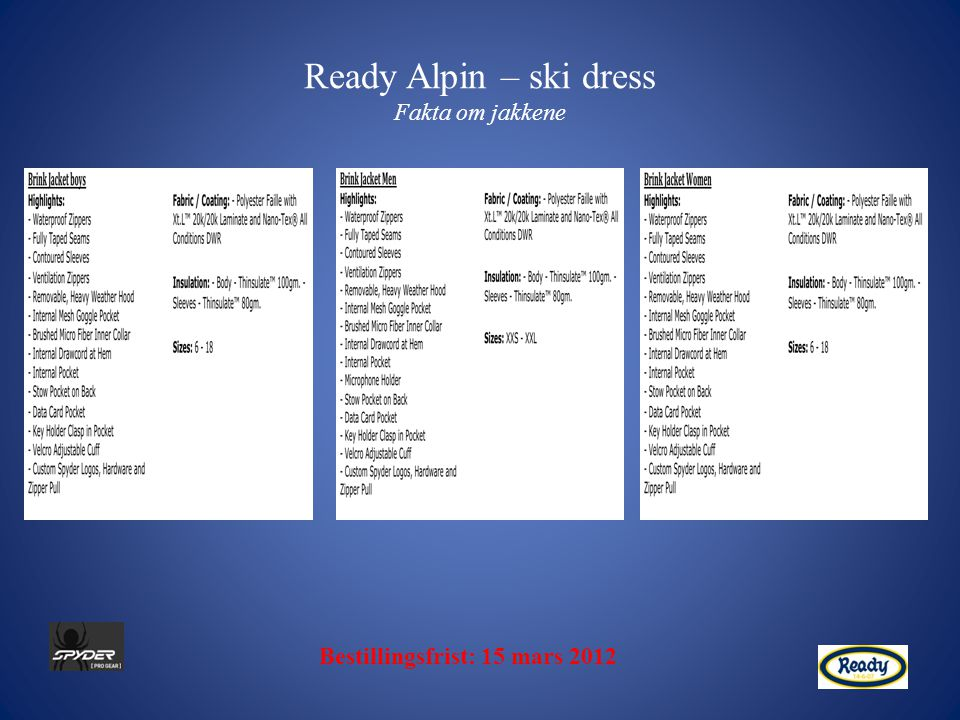Ready Alpin – ski dress Fakta om jakkene