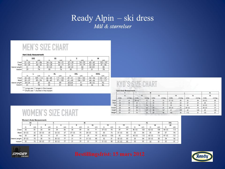 Ready Alpin – ski dress Mål & størrelser