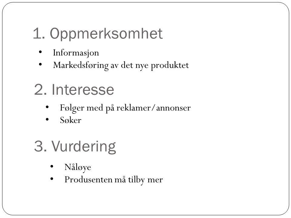 1. Oppmerksomhet 2. Interesse 3. Vurdering Informasjon