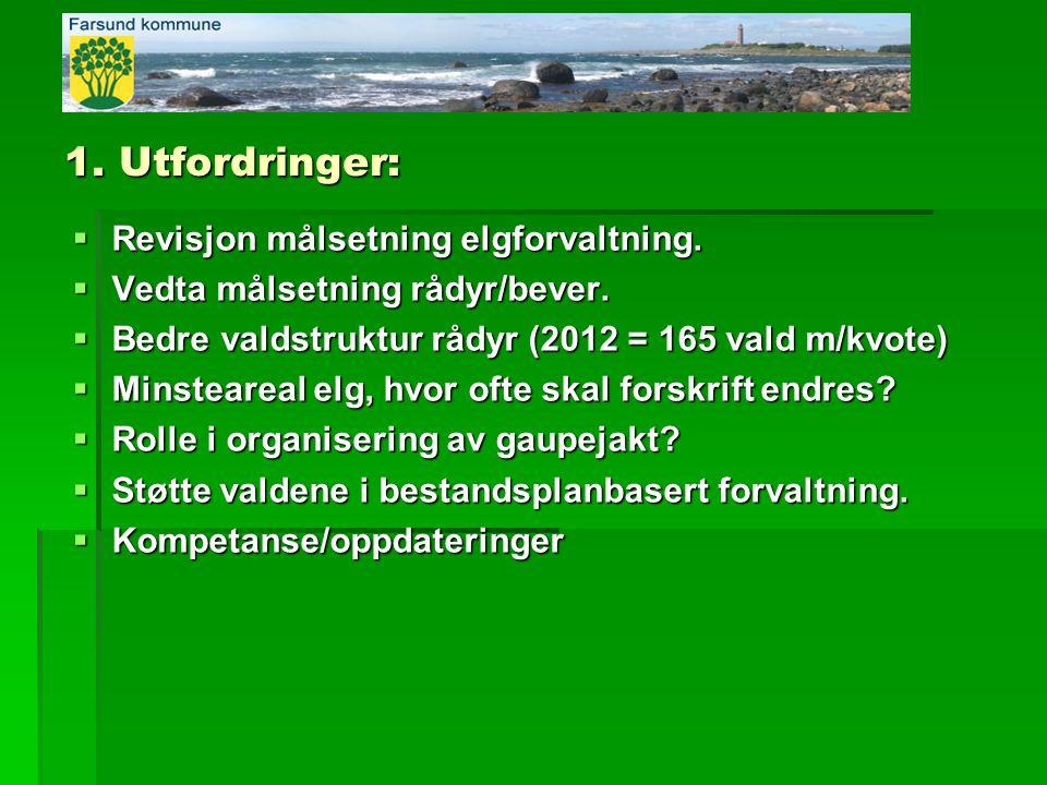 1. Utfordringer: Revisjon målsetning elgforvaltning.