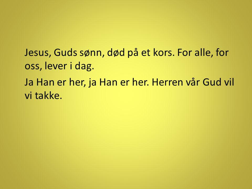 Jesus, Guds sønn, død på et kors. For alle, for oss, lever i dag