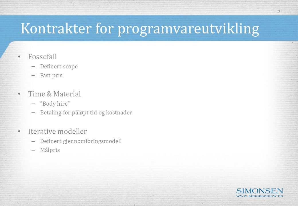 Kontrakter for programvareutvikling