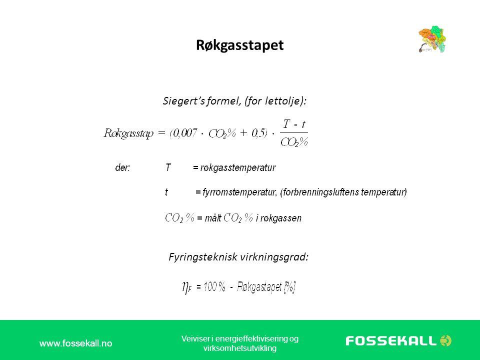Røkgasstapet Siegert's formel, (for lettolje):