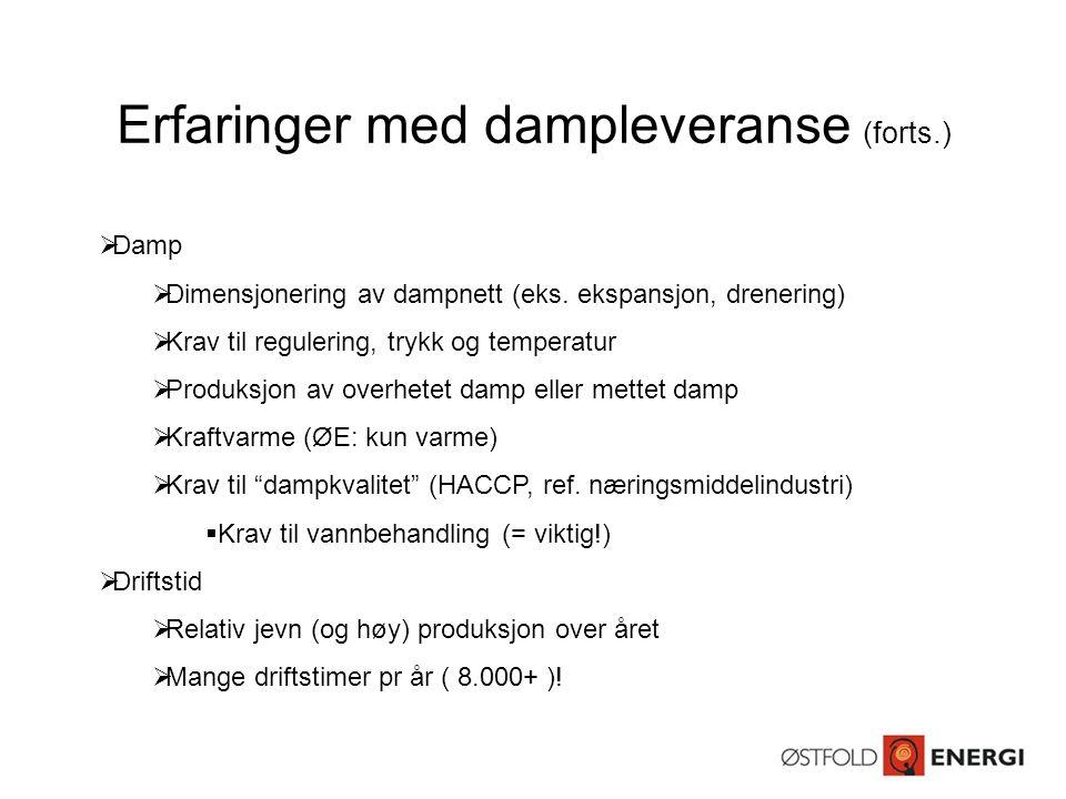 Erfaringer med dampleveranse (forts.)