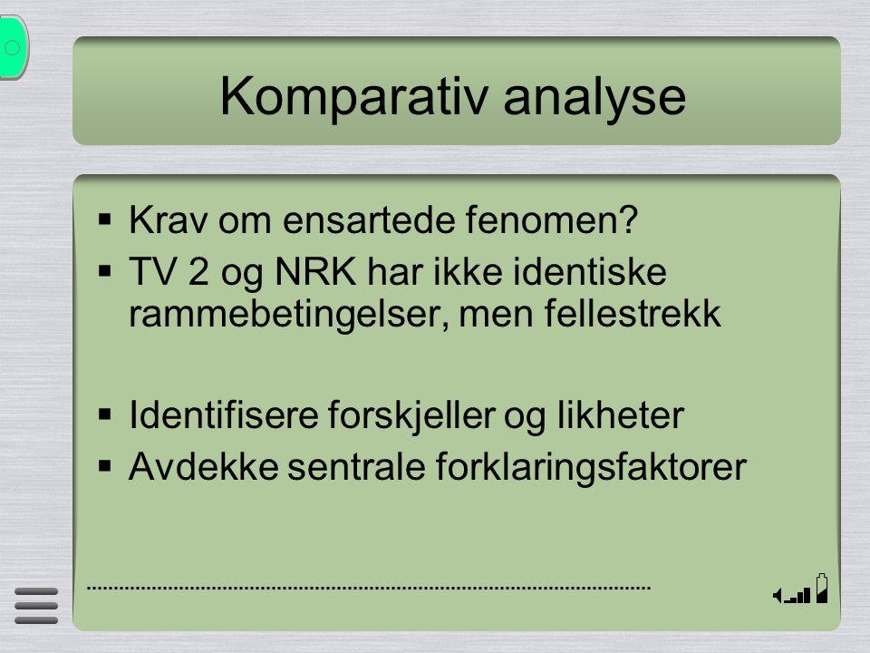 Komparativ analyse Krav om ensartede fenomen