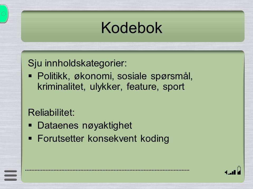 Kodebok Sju innholdskategorier: