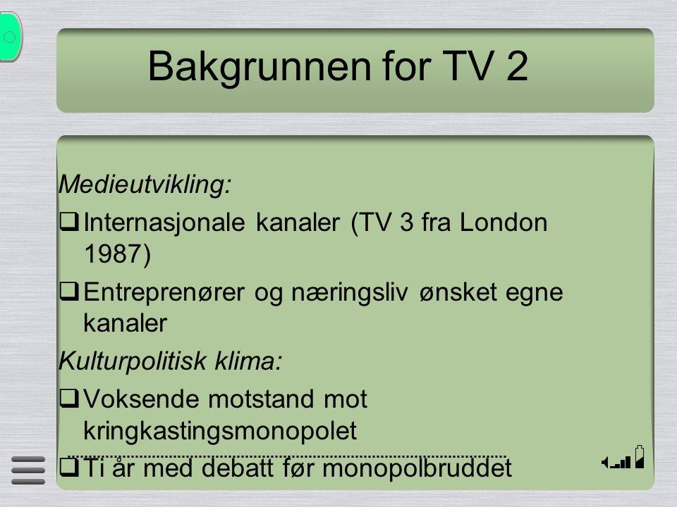Bakgrunnen for TV 2 Medieutvikling:
