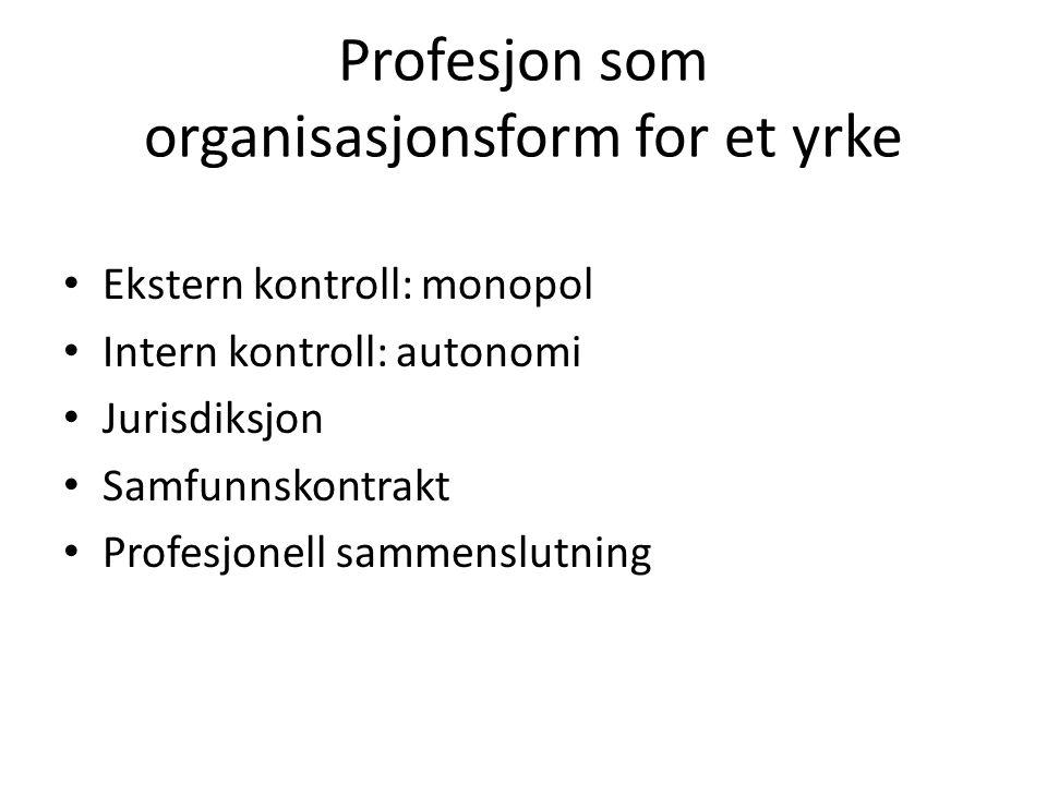 Profesjon som organisasjonsform for et yrke