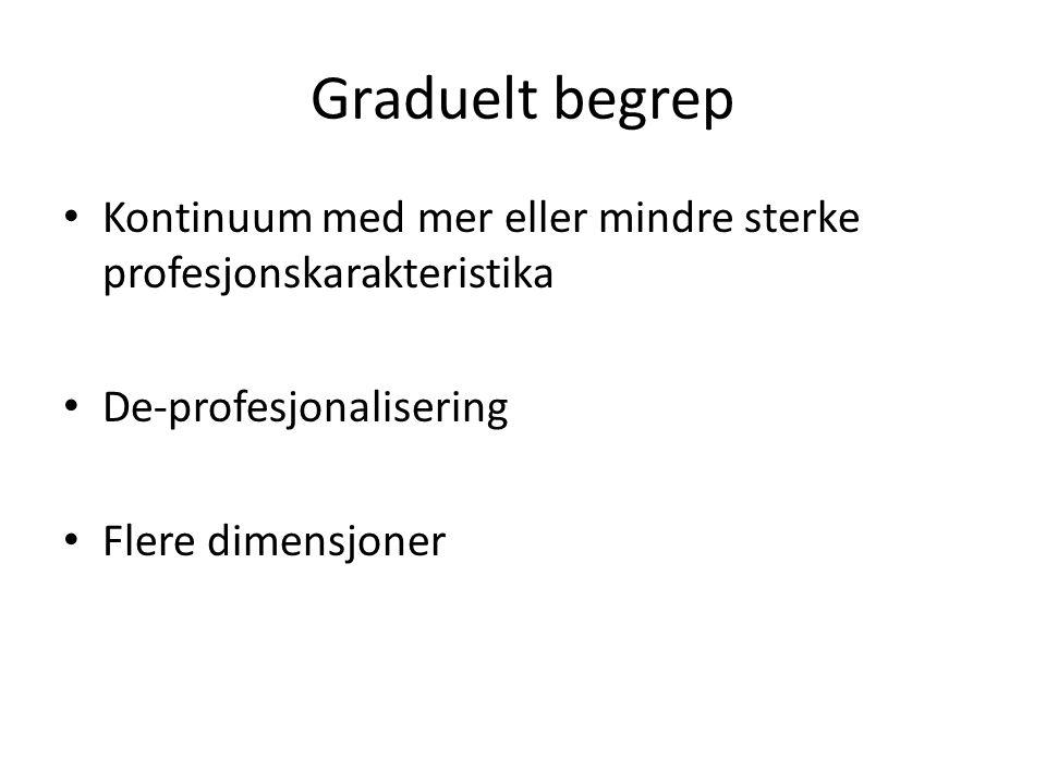 Graduelt begrep Kontinuum med mer eller mindre sterke profesjonskarakteristika. De-profesjonalisering.