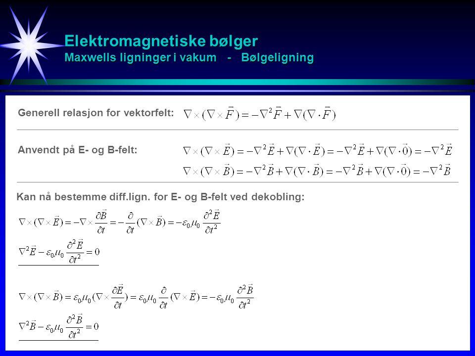 Elektromagnetiske bølger Maxwells ligninger i vakum - Bølgeligning