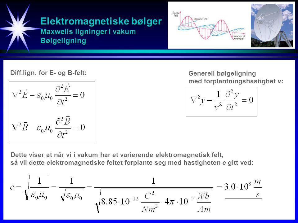 Elektromagnetiske bølger Maxwells ligninger i vakum Bølgeligning