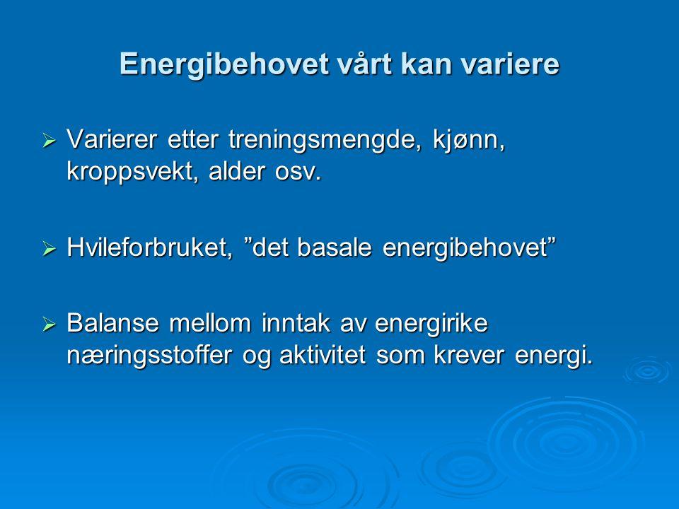 Energibehovet vårt kan variere