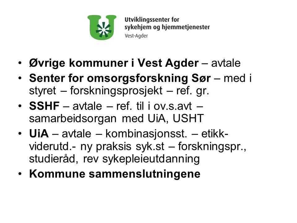 Øvrige kommuner i Vest Agder – avtale