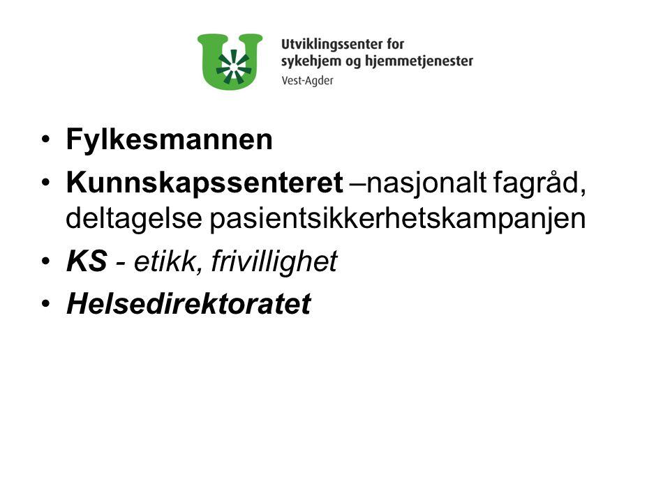 Fylkesmannen Kunnskapssenteret –nasjonalt fagråd, deltagelse pasientsikkerhetskampanjen. KS - etikk, frivillighet.