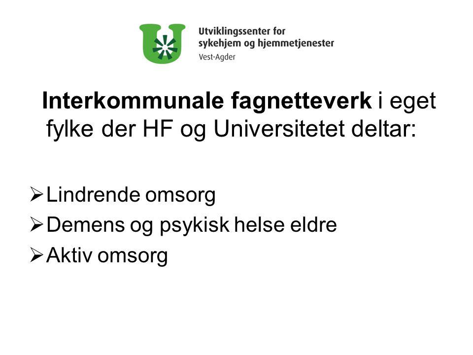 Interkommunale fagnetteverk i eget fylke der HF og Universitetet deltar: