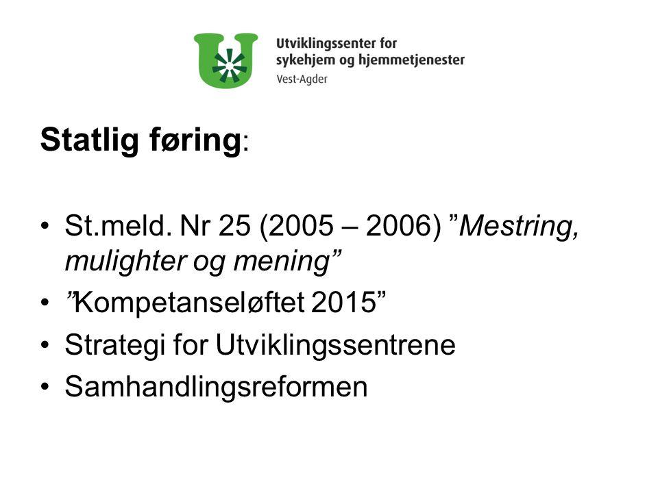 Statlig føring: St.meld. Nr 25 (2005 – 2006) Mestring, mulighter og mening Kompetanseløftet 2015