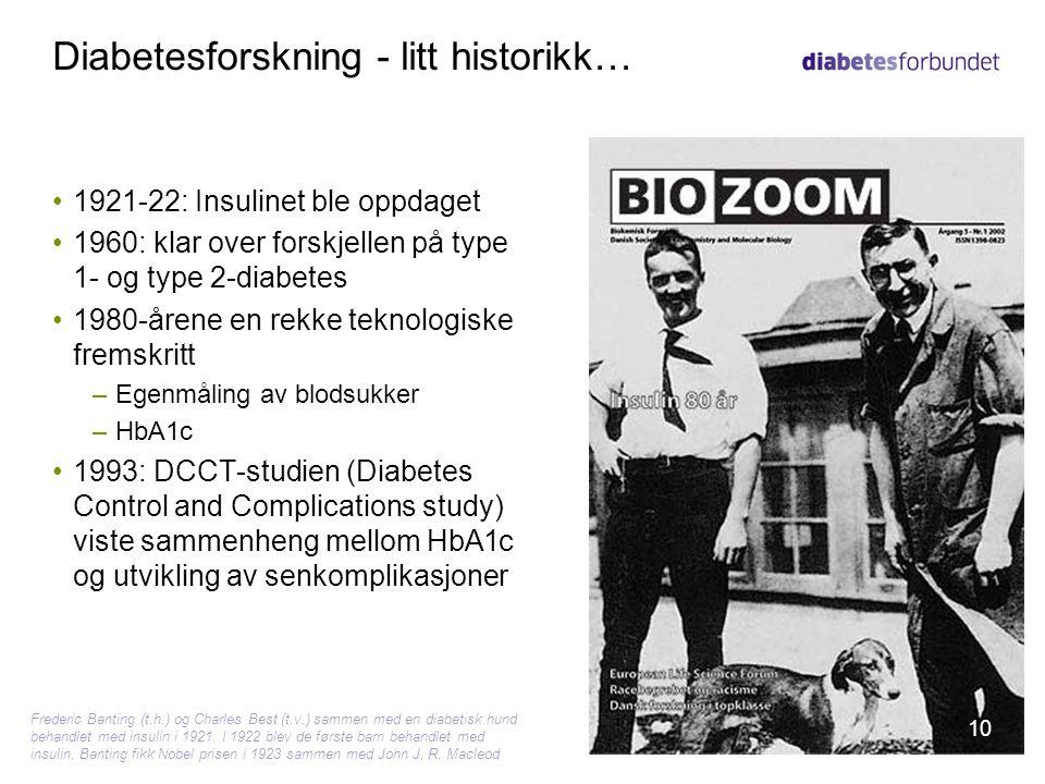 Diabetesforskning - litt historikk…